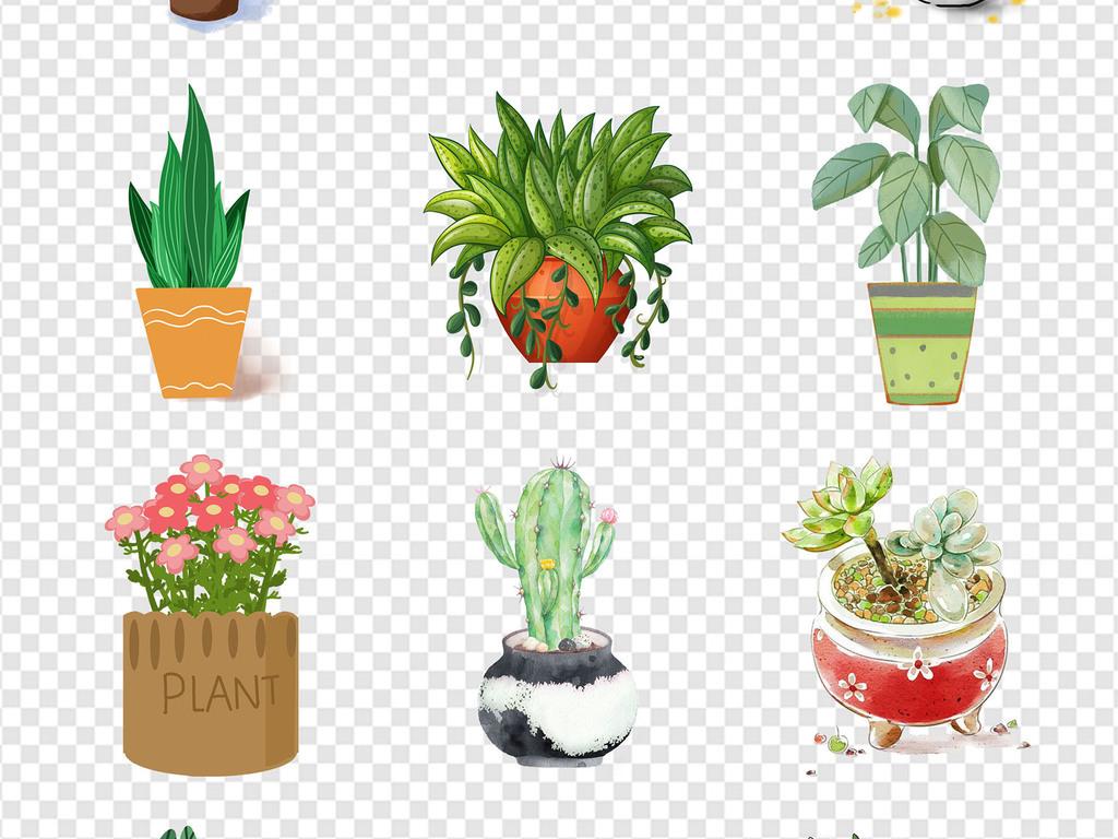 盆栽盆景植物园林景观卡通植物手绘植物盆栽卡通盆栽卡通盆景扁平化