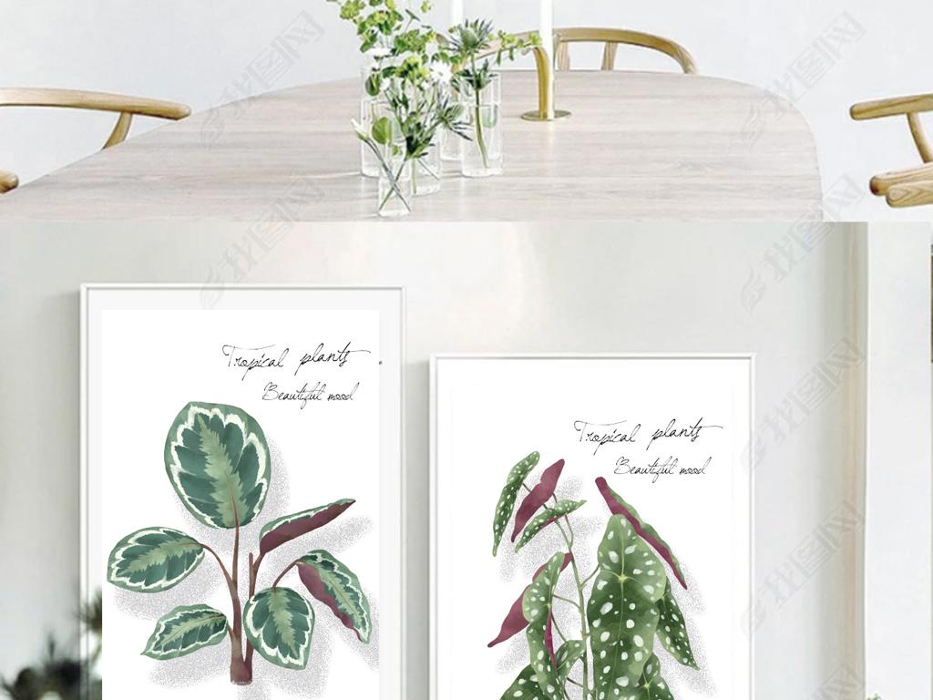 原创手绘ins风自然小调植物装饰画