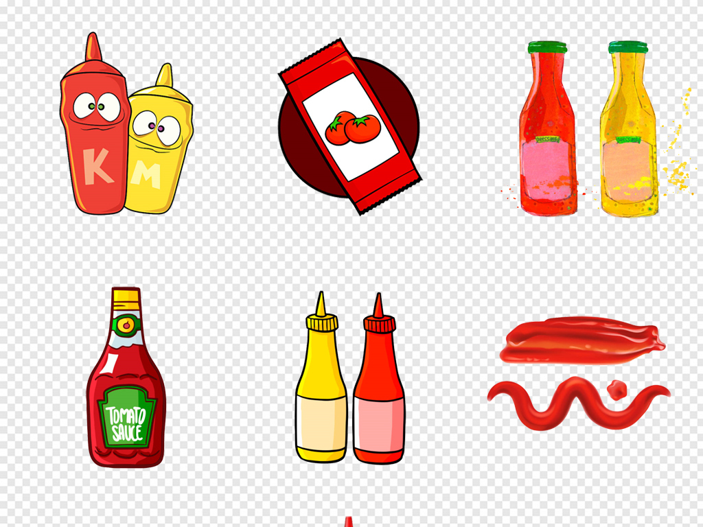 手绘卡通西红柿番茄番茄酱png免扣素材