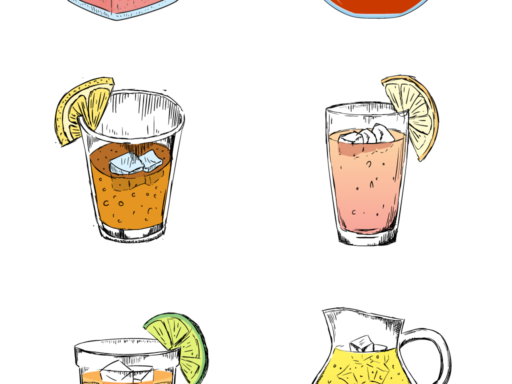 水彩手绘果汁饮品饮料冷饮海报矢量素材