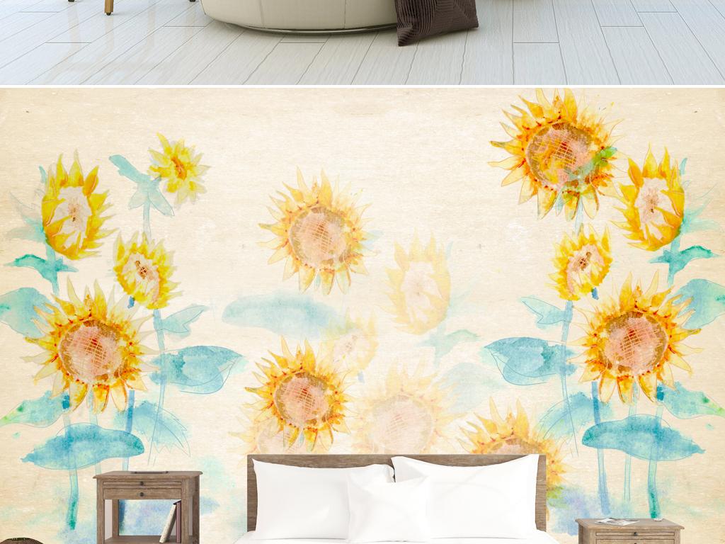 原创现代简约手绘向日葵电视沙发背景墙