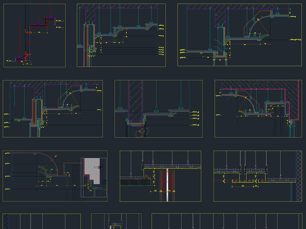 吊顶天花剖面图大样节点祥图cad素材图库平面设计图()图片