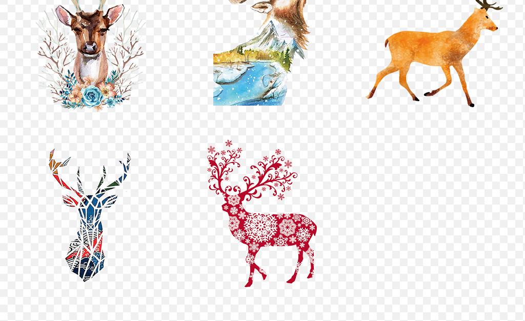 卡通手绘水彩鹿头麋鹿小鹿创意海报素材背景图片png