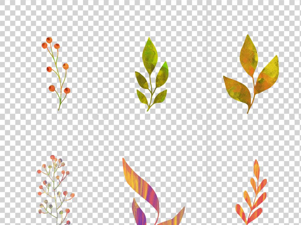 自然素材 树叶 > 清新手绘水彩树叶子树枝装饰插画芯印花图案png免扣