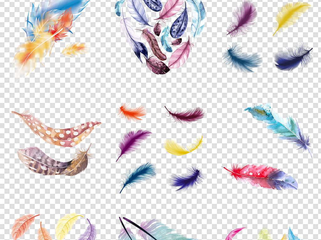 手绘背景设计唯美羽毛素材孔雀羽毛彩色手绘羽毛水彩素材手绘水彩水彩