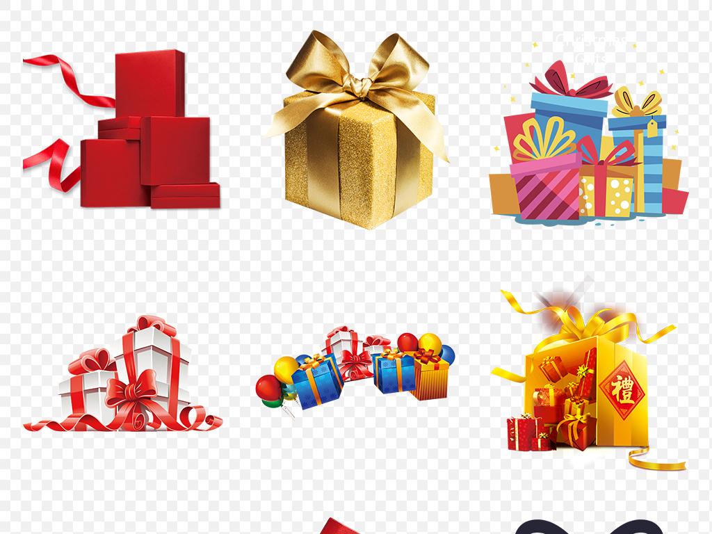卡通手绘喜庆节日促销礼品礼盒海报素材背景图片png