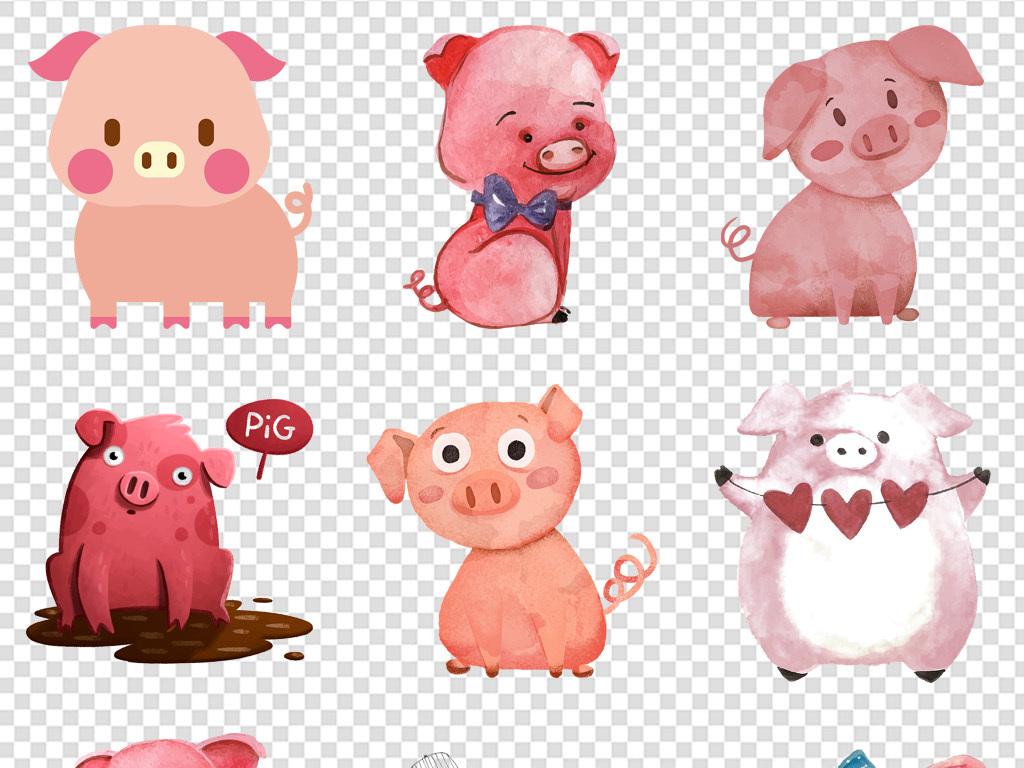 2019猪年手绘猪水彩小猪动物新年海报免扣png