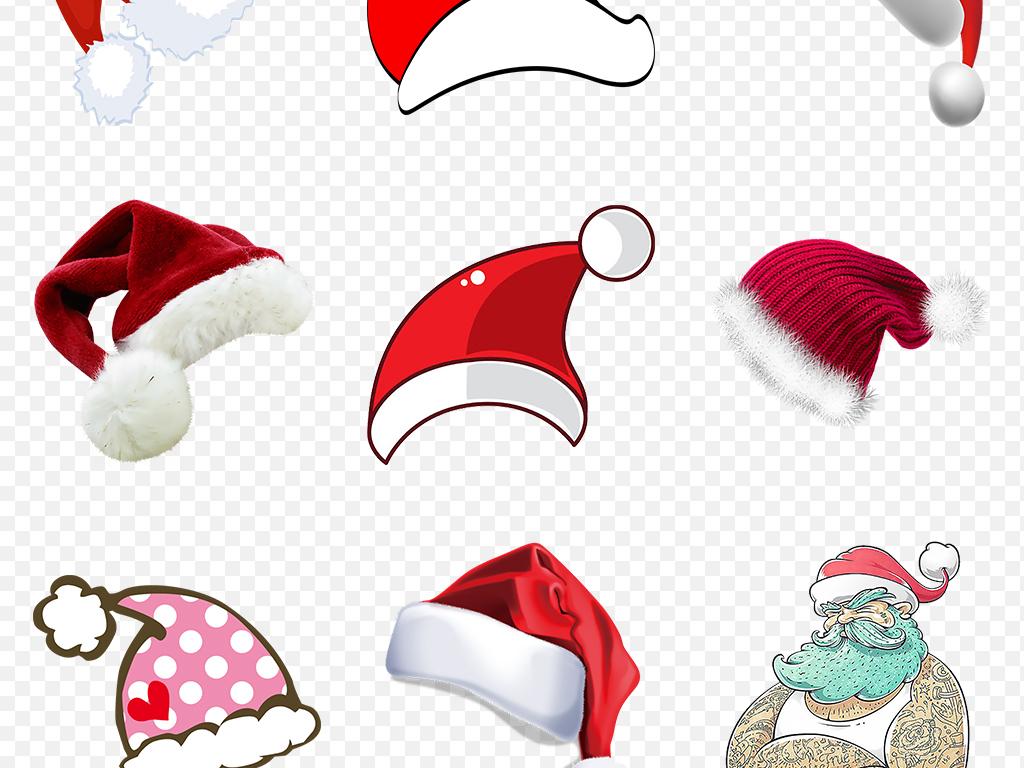 卡通手绘红色圣诞帽圣诞节促销海报素材背景图片png