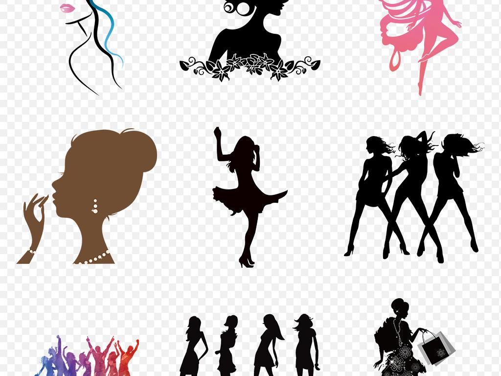 卡通手绘美女时尚女人剪影海报素材背景图片png