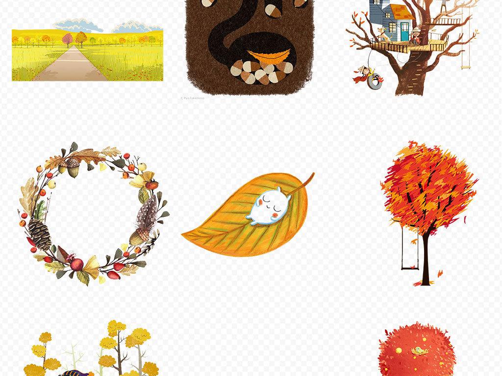 金色秋天秋天唯美风景秋天风景插画手绘秋天风景秋天海报背景手绘稻田