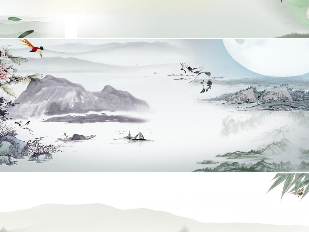 古風古典水墨山水荷花banner背景素材