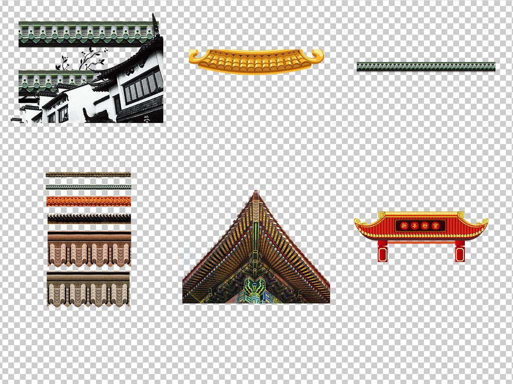 中式房地产建筑卡通屋顶屋檐海报png素材