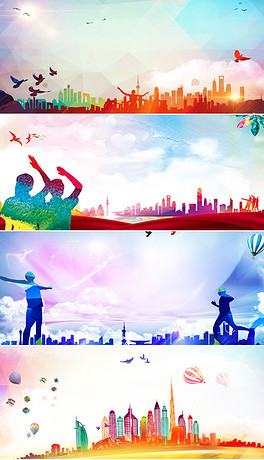 文明城市校园都市建筑奔跑人物剪影海报banner-PSD青春海报手绘