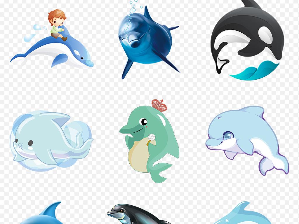 可爱卡通手绘海豚动物海报素材背景图片png