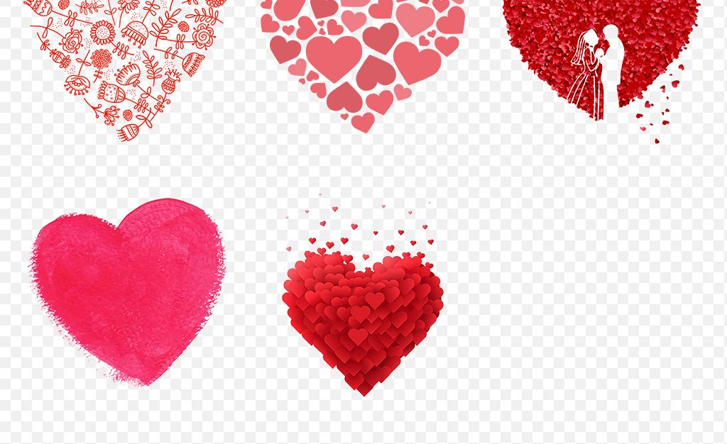 卡通手绘水彩爱心心形心动海报素材背景图片png