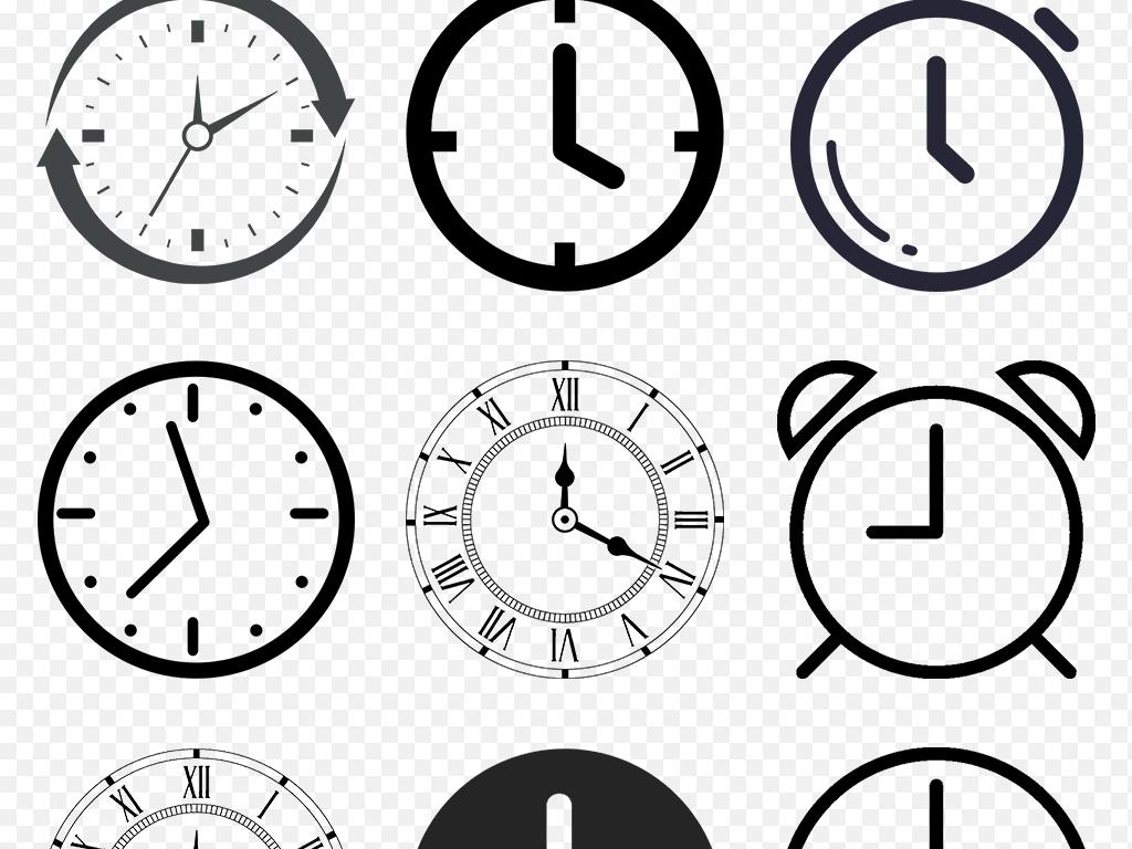 卡通手绘黑白时钟欧式钟表时间海报素材背景图片png