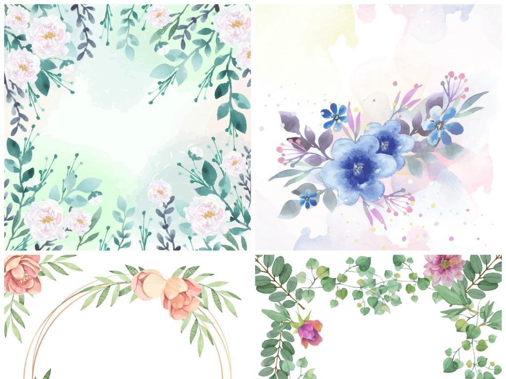 ai矢量水彩手绘花边花框花堆海报边框素材