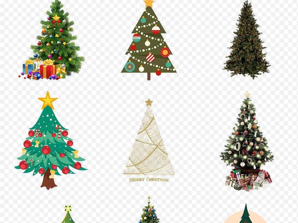 卡通手绘圣诞树圣诞节装饰海报素材背景图片png