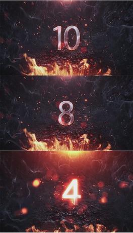 震撼大气火焰晚会年会倒计时LED视频素材