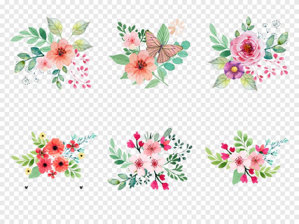 免抠元素 自然素材 花卉 > 森系小清新水彩手绘绿叶花朵花卉海报png免