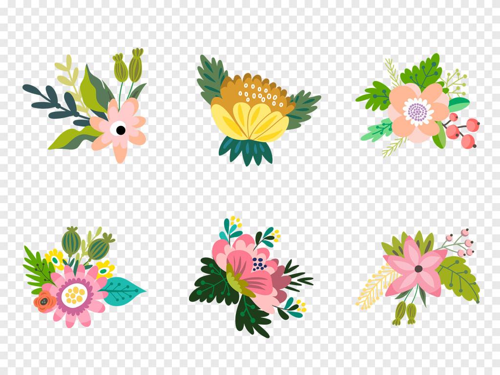 热带叶子边框花边草鲜花手绘花卉花朵小清新水彩水彩花卉森系素材绿叶