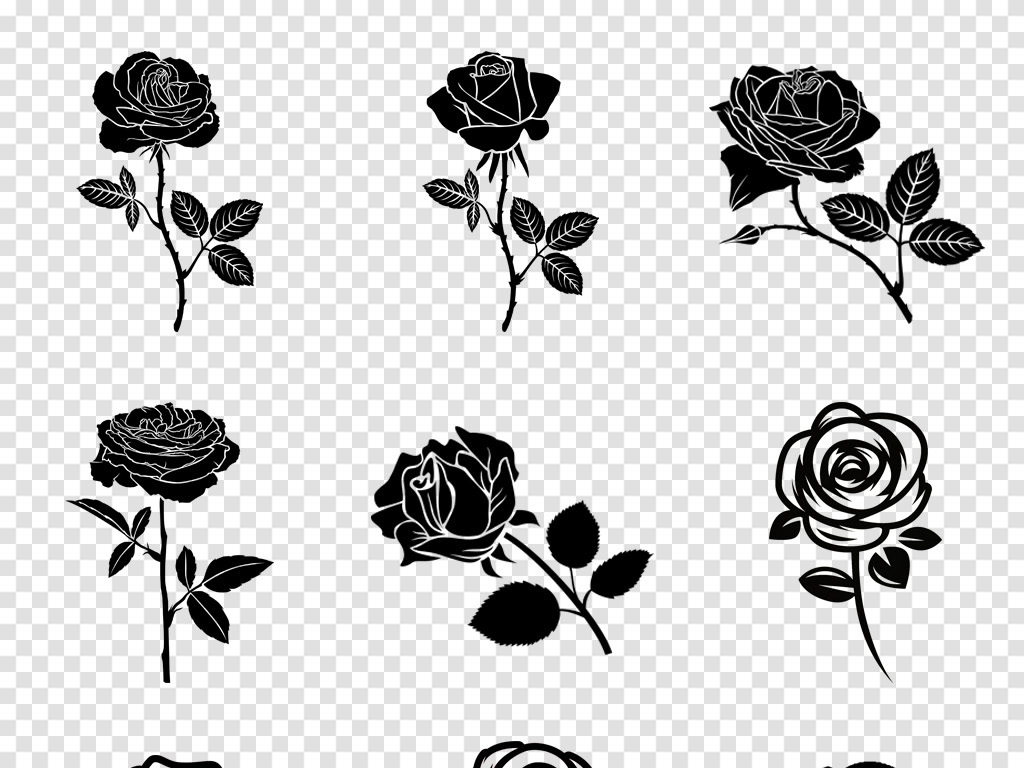 卡通手绘黑白玫瑰花图案手绘月季玫瑰花水墨花卉png素材