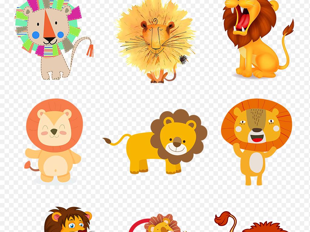 卡通手绘动物狮子幼儿园贴纸海报素材背景图片png