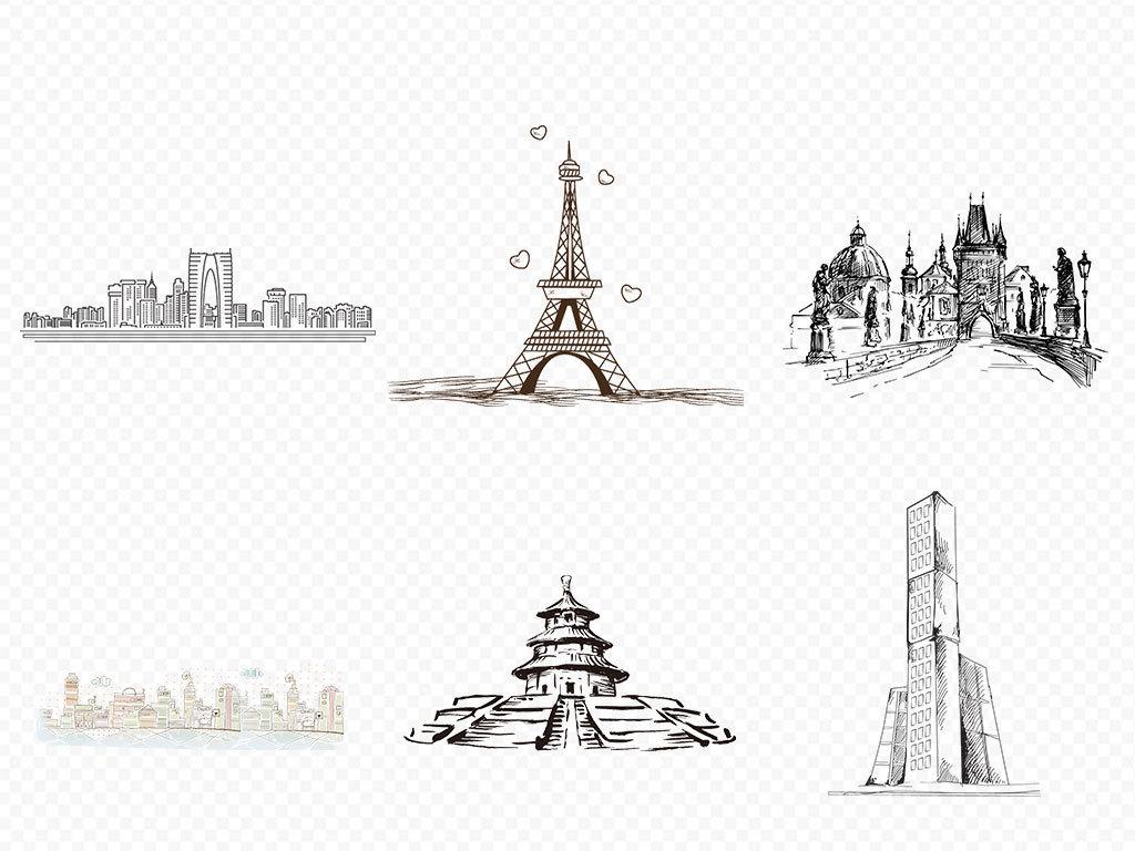 现代手绘城市简笔画建筑卡通背景png装饰图片素材 模板下载 13.21MB 城市建筑大全 生活工作