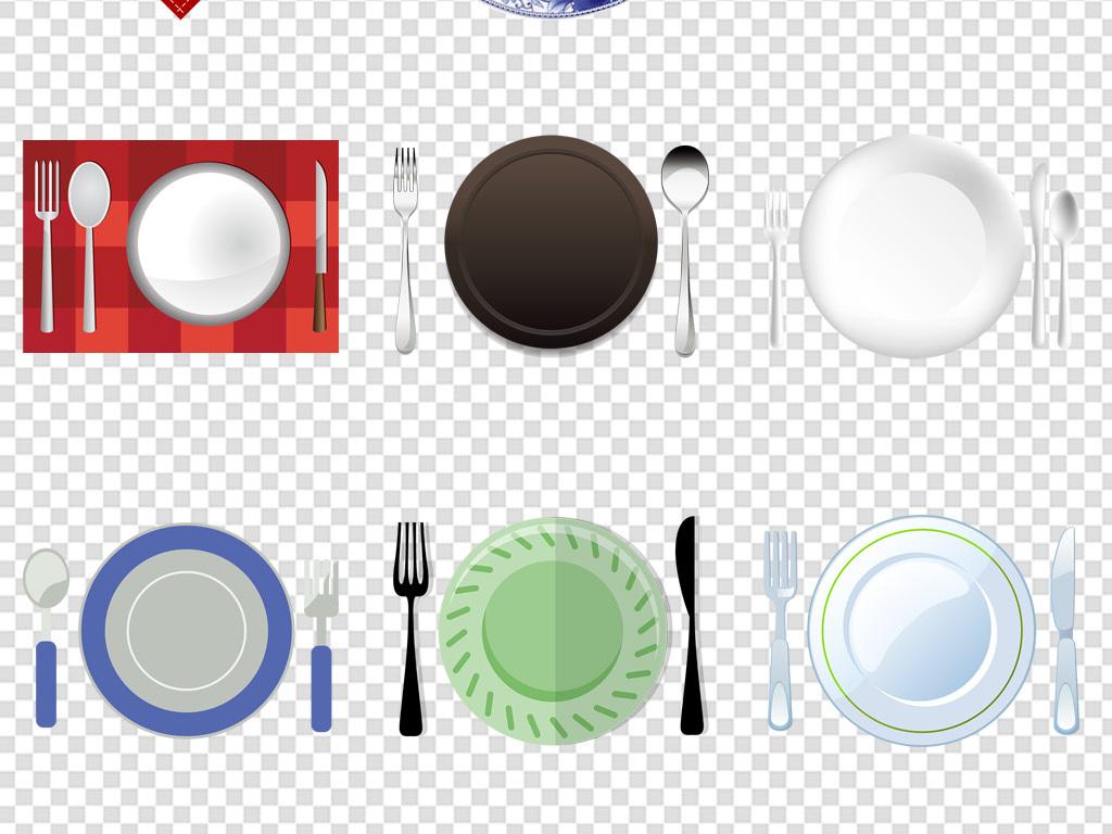厨房西餐餐具盘子刀叉案板筷子免扣png素材图片