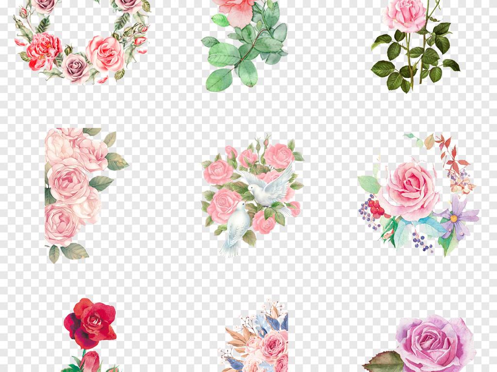 卡通玫瑰花水彩手绘月季玫瑰花水墨花卉海报png素材