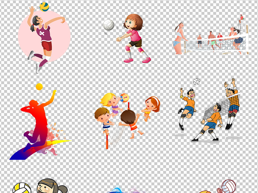排球运动人物儿童卡通剪影海报素材背景图片png
