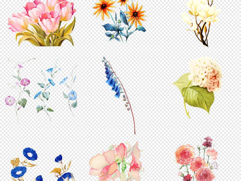 手绘植物背景鲜花背景鲜花图片鲜花素材蓝色花红色花粉色花花卉花纹