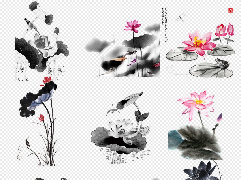 手绘黑白水墨荷花荷叶海报素材背景图片png