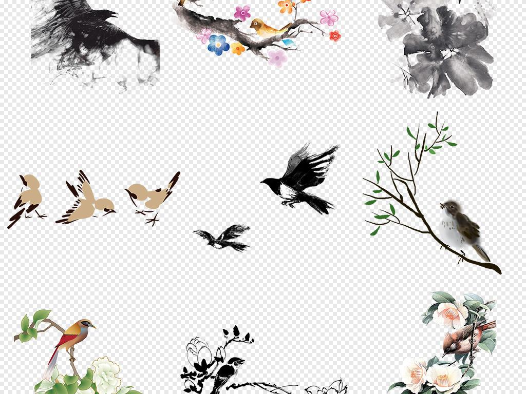 手绘水墨水彩书画工笔花鸟png素材