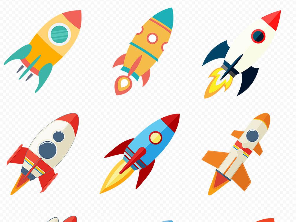 卡通手绘火箭扁平化彩色飞船海报素材背景图片