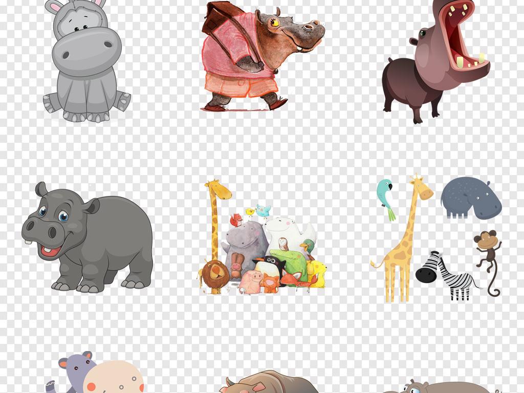 免抠元素 自然素材 动物 > 卡通河马幼儿园墙纸壁画装饰png素材  素材