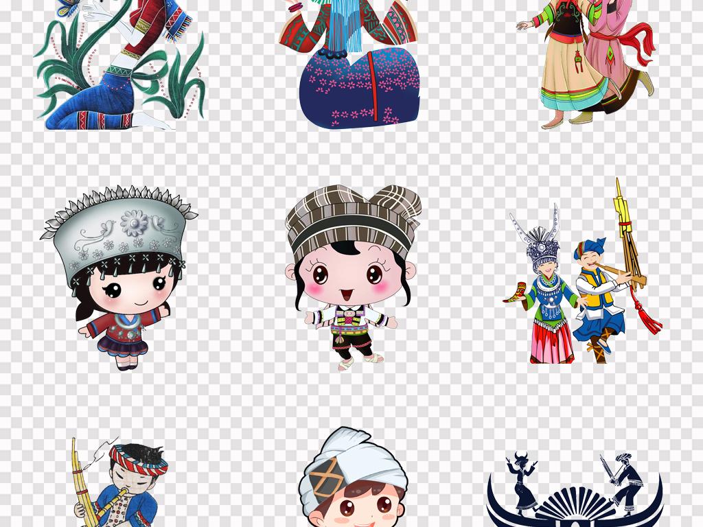 手绘中国风苗族人物苗族姑娘少数名族文化宣传png素材