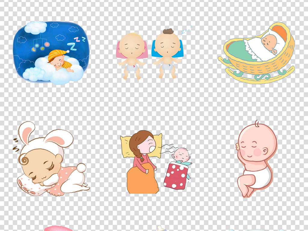 超可爱婴儿睡觉卡通幼儿园医院壁纸png