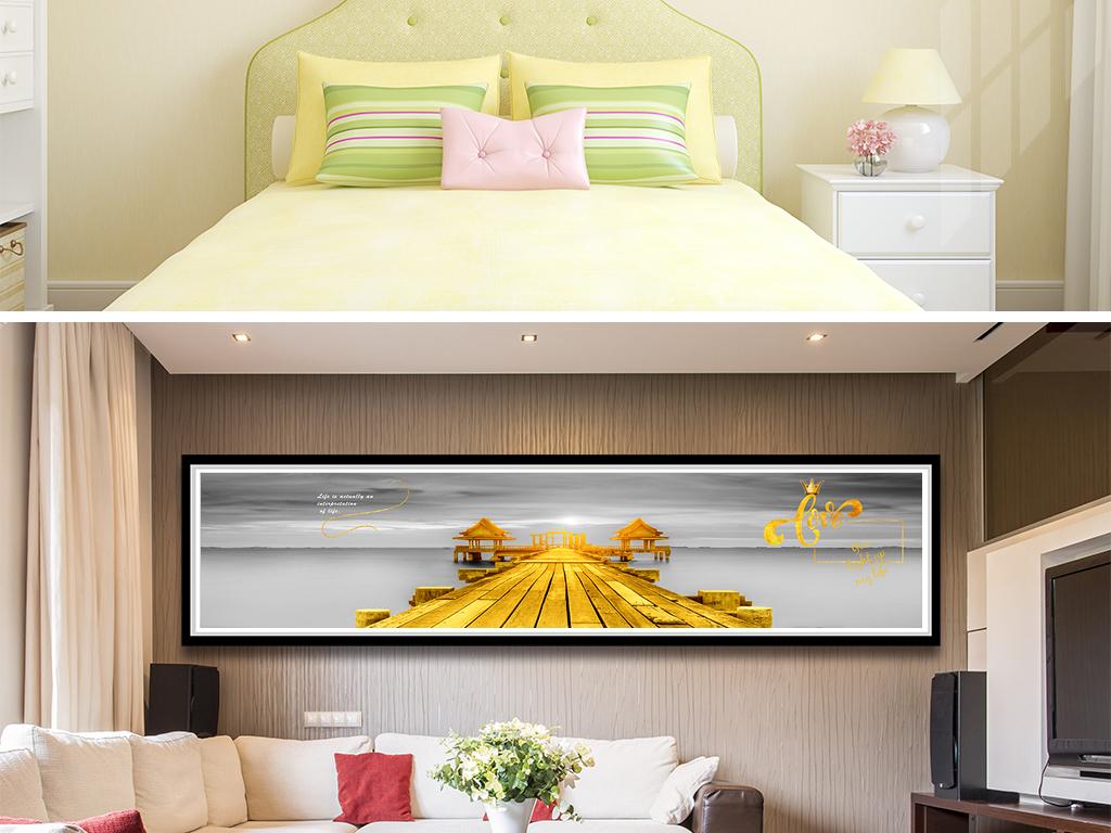 海边风景金色木桥英文床头装饰画