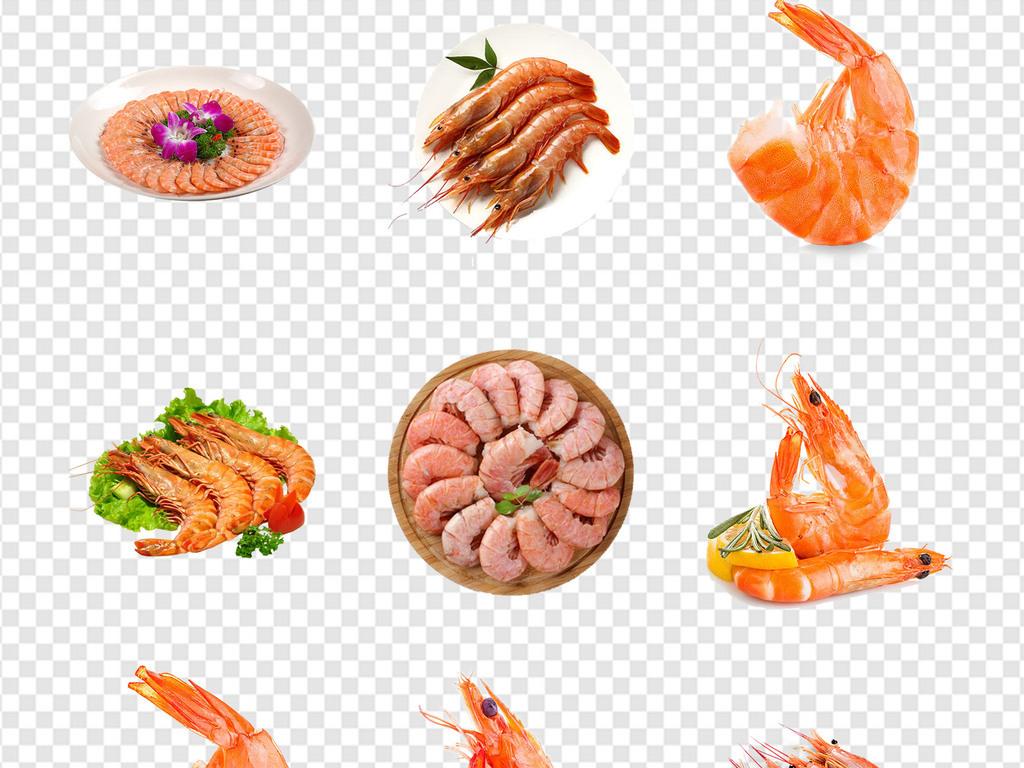 美食美食海报手绘虾基围虾红虾火锅食材