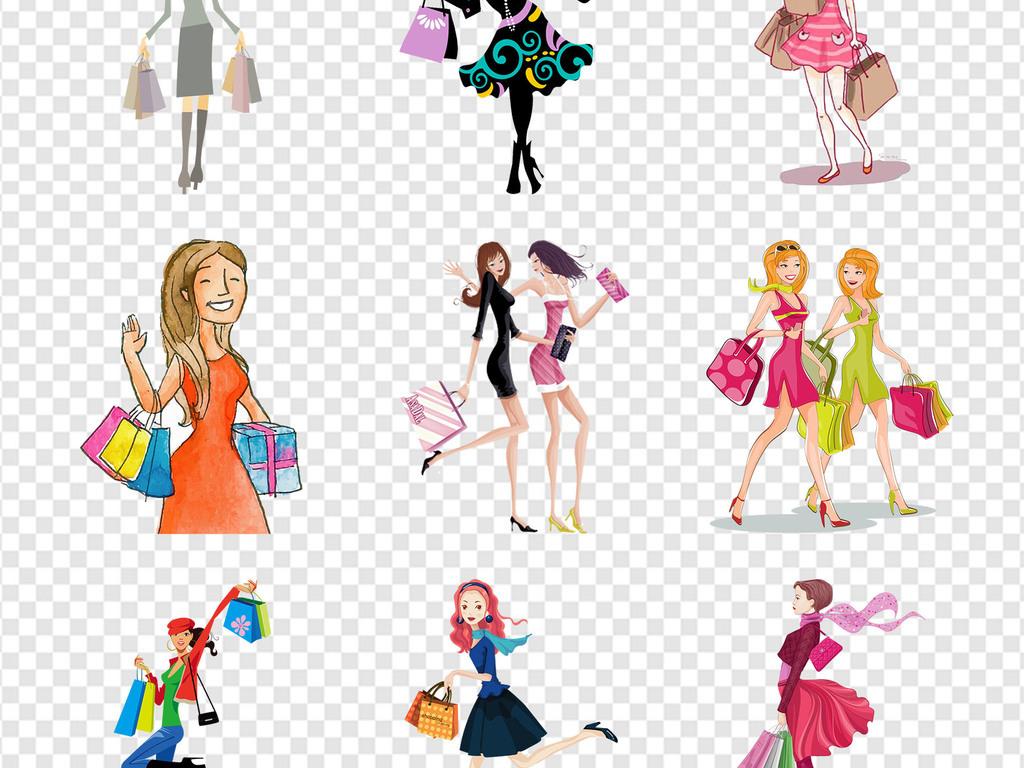 免抠元素 人物形象 动漫人物 > 女性女郎女孩美女手绘购物商城海报png