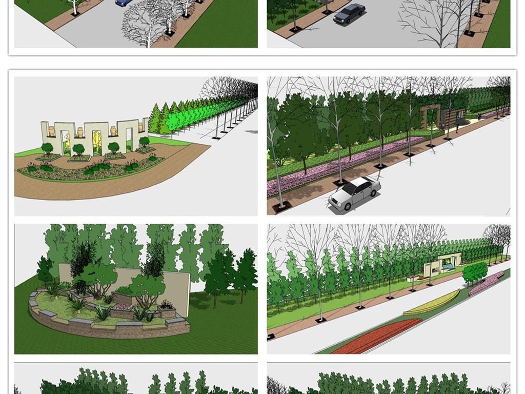 精品城市规划道路及道路绿化设计SU模型图下载 图片67.37MB 植物景观库 SU模型