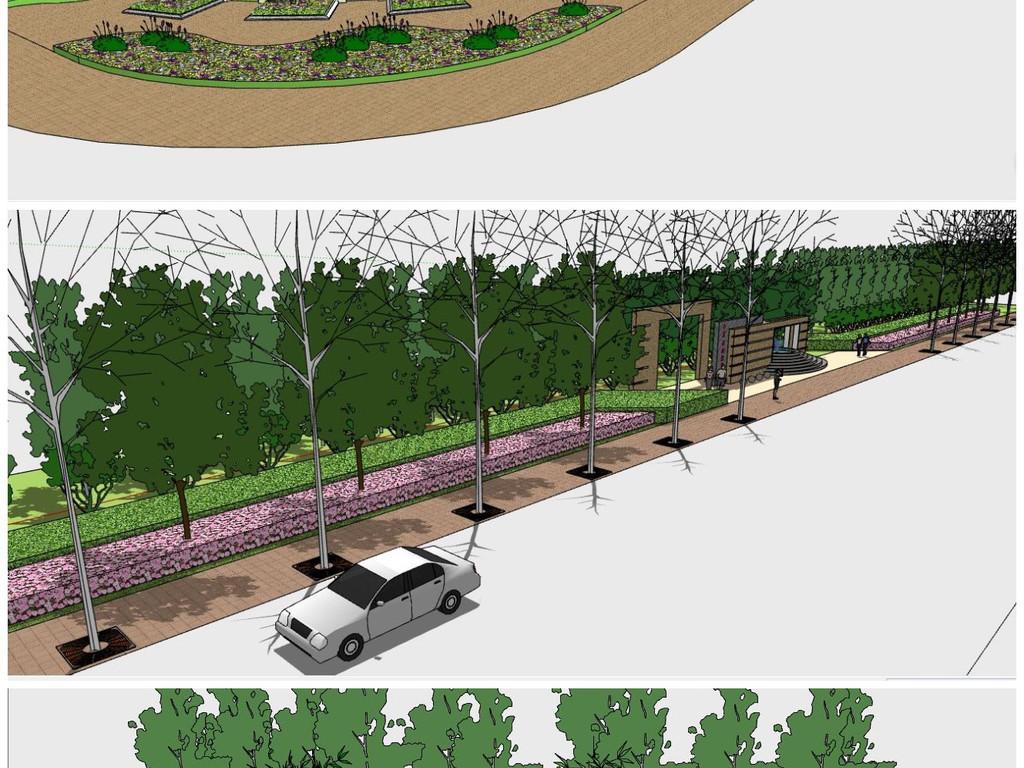 精品城市规划道路及道路绿化设计SU模型素材 植物景观模型大全 18787684