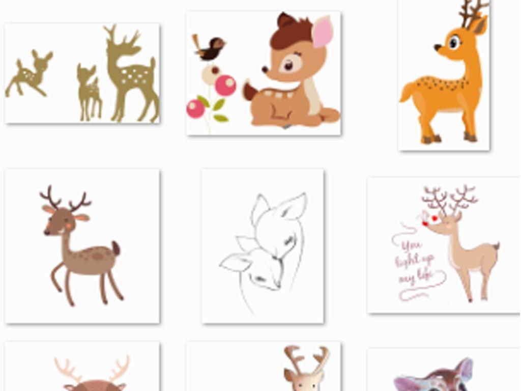 动物元素卡通动物手绘卡通驯鹿鹿图片卡通鹿圣诞鹿森系鹿剪影