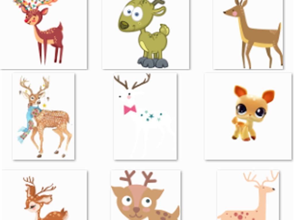 手绘卡通驯鹿鹿图片卡通鹿圣诞鹿森系鹿剪影艺术鹿手绘鹿圣诞节麋鹿鹿