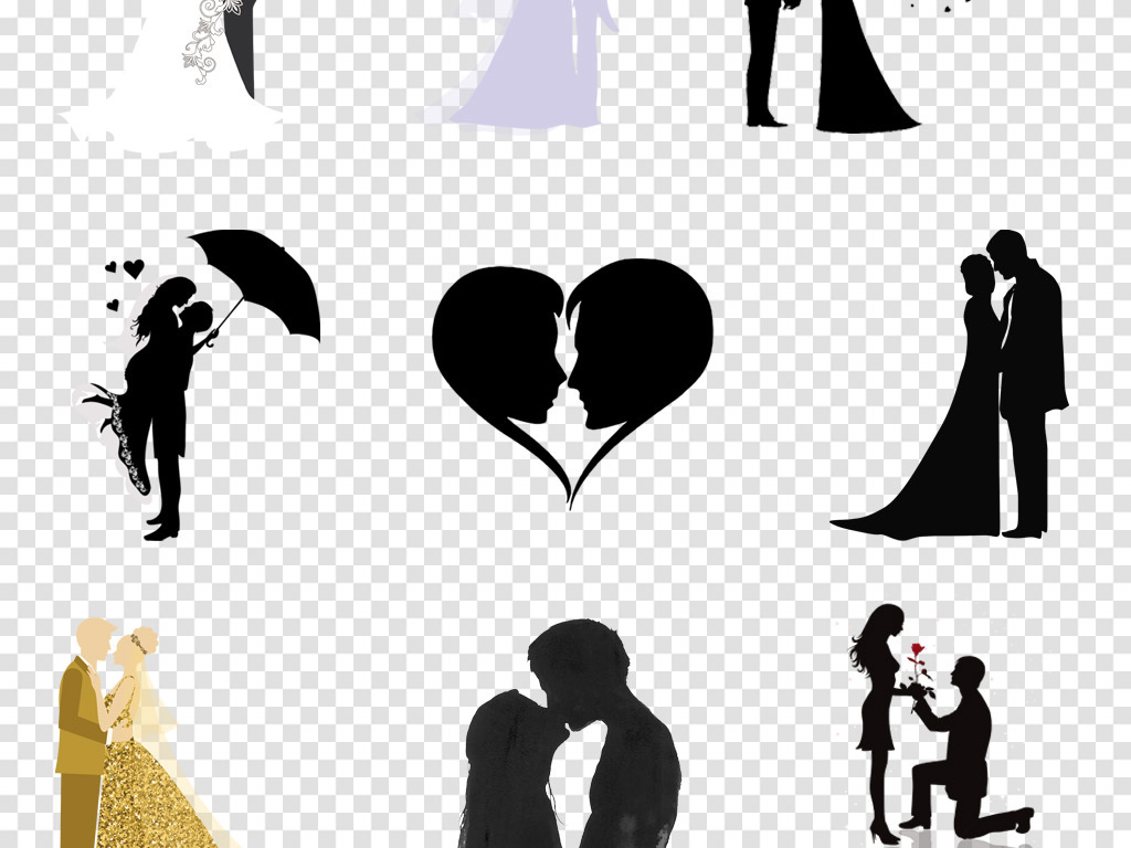 婚礼新郎新娘情侣人物剪影婚庆海报png免扣素材