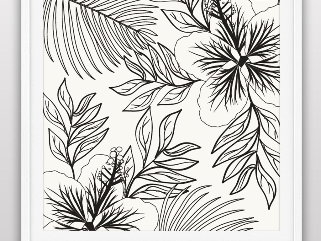 矢量手绘线条花卉植物夏季卡片插画海报
