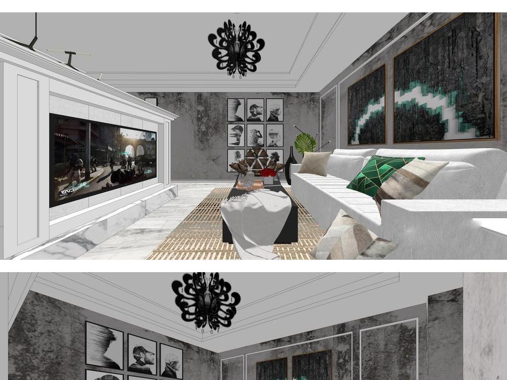 现代北欧su工业风格室内家具组合su模型