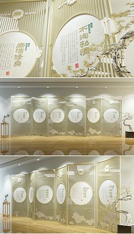 新中式屏风廉政文化墙创意企业文化墙