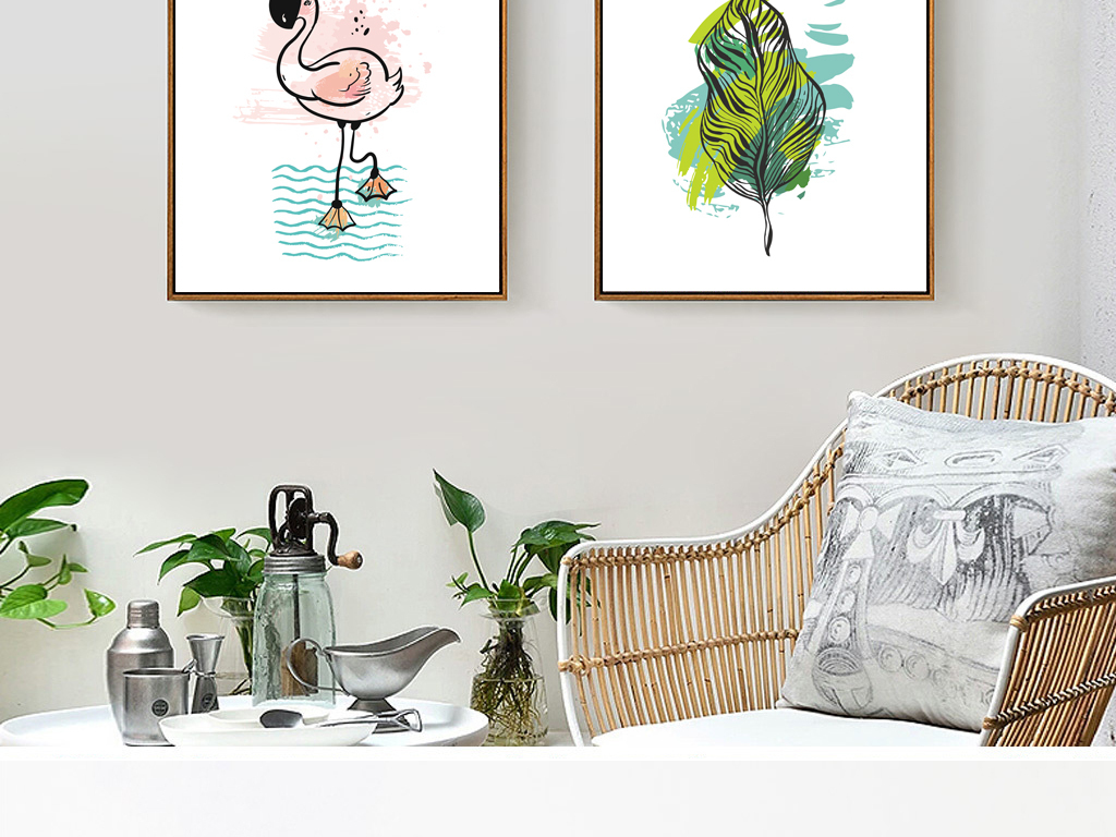 北欧风现代手绘热带植物菠萝三联装饰画